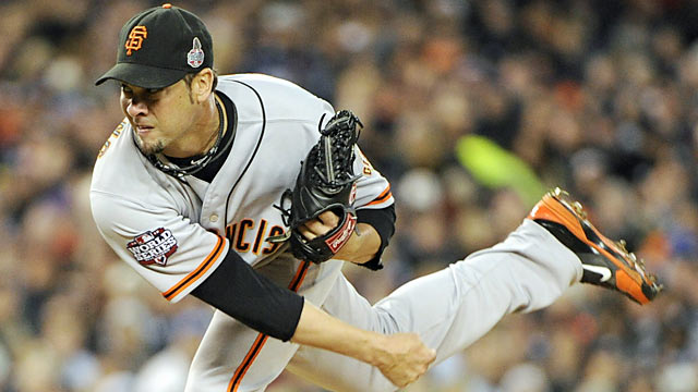 Ryan Vogelsong pitches 5 2/3 shutout innings and picks up the 2-0 win in Game 3.  (Courtesy of US Presswire)